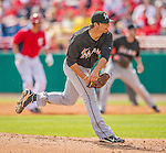9 March 2013: Miami Marlins pitcher Brad Hand on the mound during a Spring Training game against the Washington Nationals at Space Coast Stadium in Viera, Florida. The Nationals edged out the Marlins 8-7 in Grapefruit League play. Mandatory Credit: Ed Wolfstein Photo *** RAW (NEF) Image File Available ***