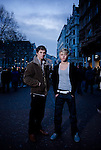 Actors Alex Pettyfer (Stormbringer) and Mitch Hewer (Skins) photographed in Leicester Square, London - BAFTA