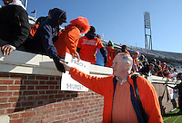 Virginia head coach Al Groh greet fans who camped out in tents for days before the start of the Virginia/Virginia Tech game Saturday November 19, 2005 at Scott Stadium in Charlottesville, Va.