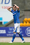 St Johnstone v Blackpool...25.07.15  McDiarmid Park, Perth.. Pre-Season Friendly<br /> Graham Cummins reacts after missing a chance to score<br /> Picture by Graeme Hart.<br /> Copyright Perthshire Picture Agency<br /> Tel: 01738 623350  Mobile: 07990 594431