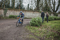 Kevin van Melsen (BEL/Wanty-Groupe Gobert) on the Chemin de Wih&eacute;ries cobble section (Honelles)<br /> <br /> GP Le Samyn 2017 (1.1)