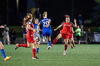 Boston, MA - Friday May 19, 2017: Christen Westphal and Hayley Raso during a regular season National Women's Soccer League (NWSL) match between the Boston Breakers and the Portland Thorns FC at Jordan Field.
