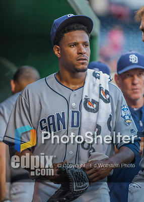 23 July 2016: San Diego Padres starting pitcher Edwin Jackson stands in the dugout prior to a game against the Washington Nationals at Nationals Park in Washington, DC. The Nationals defeated the Padres 3-2 to tie their series at one game apiece. Mandatory Credit: Ed Wolfstein Photo *** RAW (NEF) Image File Available ***