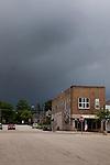 Summer storm brewing over downtown Ludington, Michigan, MI, USA