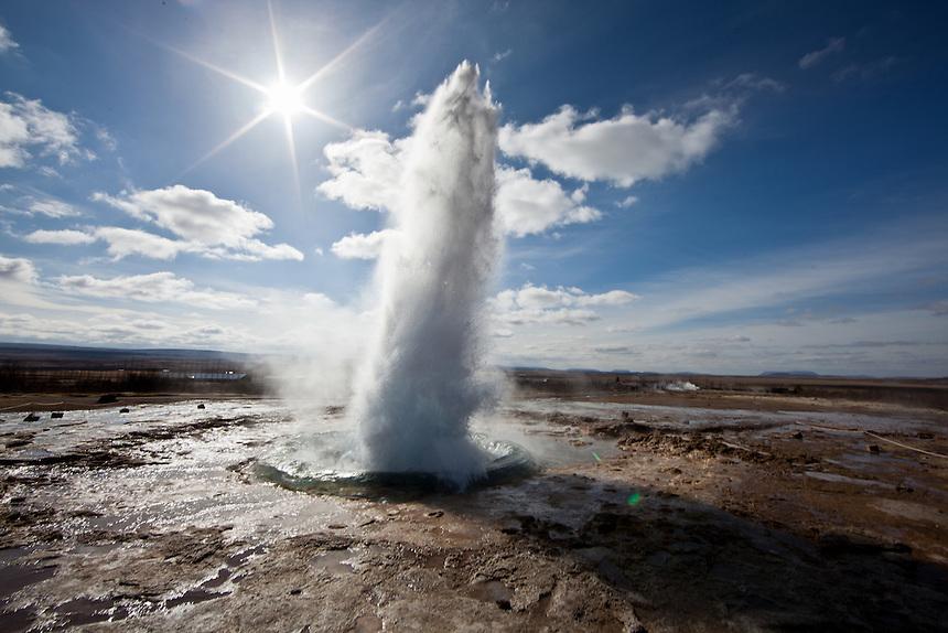 Strokkur Geysir erupts in Iceland