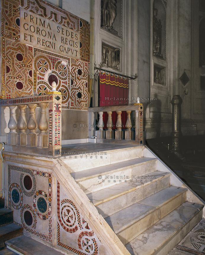 Palermo, the cathedral, royal throne.<br /> Cattedrale di Palermo, trono regio.