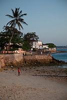 Zanzibar, Tanzania.  Shangani Point at Dusk.