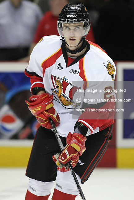 QMJHL (LHJMQ) hockey profile photo on Baie-Comeau Drakkar Charles Poulin October 8, 2011 at the Colisee Pepsi in Quebec city.