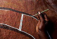 ABORIGINAL PAINTING INSIDE A CAVE,IN ARNHEM LAND NORTHERN TERRITORY<br />