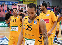 Basketball  1. Bundesliga  2016/2017  Hauptrunde  14. Spieltag  16.12.2016 Walter Tigers Tuebingen - Alba Berlin Enttaeuschung Tigers; Davion Berry