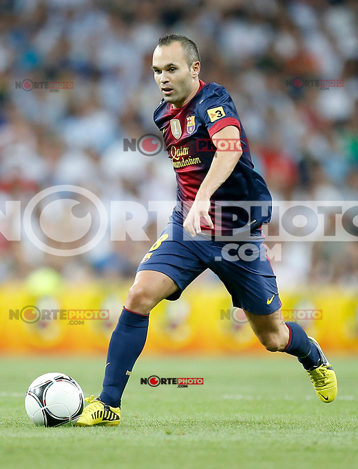 Barcelona's Andres Iniesta during Super Cup match. August 29, 2012. (ALTERPHOTOS/Alvaro Hernandez). /NortePhoto.com<br /> <br /> **CREDITO*OBLIGATORIO** <br /> *No*Venta*A*Terceros*<br /> *No*Sale*So*third*<br /> *** No*Se*Permite*Hacer*Archivo**<br /> *No*Sale*So*third*