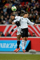 Offenbach, Germany, Friday, April 05 2013: Womans, Germany vs. USA, in the Stadium in Offenbach,  Shannon Boxx (USA), Dzsenifer Marozsan (GER)...