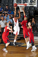 SAN ANTONIO , TX - MARCH 5, 2010: Heartland Conference Men's Basketball Tournament Semi-Finals featuring the Dallas Baptist University Patriots vs. The University of the Incarnate Word Cardinals at the Bill Greehey Arena. (Photo by Jeff Huehn)