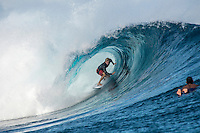Namotu Island, Fiji (Saturday, June 6, 2015) Adrian Buchan (AUS). Cloudbreak was a good size on dawn with bumby faces due to the last few days of wind. It clened up quickly with a number of the Top 34 surfers getting in some practice time. The high tide slowed things down mid moring.<br />  Photo: joliphotos.com