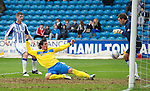 Kilmarnock v St Johnstone....03.03.12   SPL.Fran Sandaza shoots straight at Cammy Bell.Picture by Graeme Hart..Copyright Perthshire Picture Agency.Tel: 01738 623350  Mobile: 07990 594431