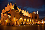 The Renaissance Cloth Hall in Krakow, Poland at night. The Cloth Hall is at the center for the Main Market Square in Krakow, Poland which is the largest medieval square in Europe and dates back to the 13th century