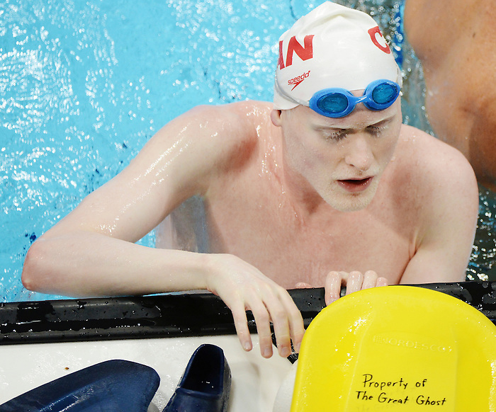LONDON, ENGLAND – 08/24/2012: Devin Gotell of the Canadian Swim Team during a training session at the London 2012 Paralympic Games at The Aquatic Centre. (Photo by Matthew Murnaghan/Canadian Paralympic Committee)