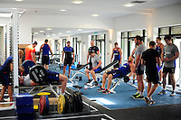 A general view of Bath Rugby players in the gym. Bath Rugby pre-season training on June 21, 2016 at Farleigh House in Bath, England. Photo by: Patrick Khachfe / Onside Images