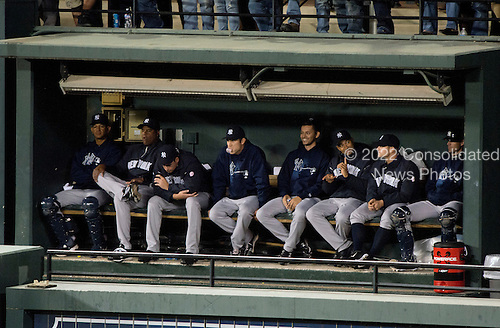 New York Yankees bullpen watches the game against the Baltimore Orioles at Oriole Park at Camden Yards in Baltimore, MD on Monday, April 9, 2012.  The Yankees won the game  6 - 2..Credit: Ron Sachs / CNP.(RESTRICTION: NO New York or New Jersey Newspapers or newspapers within a 75 mile radius of New York City)