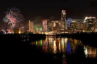 The New Austin Skyline is backdrop for the New Year's Eve Celebration with a Fireworks Display over Ladybird Lake.
