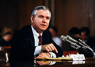 18 Feb 1987, Washington, DC, USA --- Director of Central Intelligence (CIA) Robert Gates during the Iran-Contra hearings. --- Image by © JP Laffont