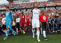 29 June 2013: Real Salt Lake midfielder Kyle Beckerman #5 leads Real Salt Lake onto the pitch during an MLS game between Real Salt Lake and Toronto FC at BMO Field in Toronto, Ontario Canada.<br /> Real Salt Lake won 1-0.