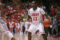 18 January 2012:  New Mexico Lobos #13 Jamal Fenton. San Diego State Aztecs defeated the New Mexico Lobos Lobos 75 - 70 at The Pit in Albuquerque, NM.