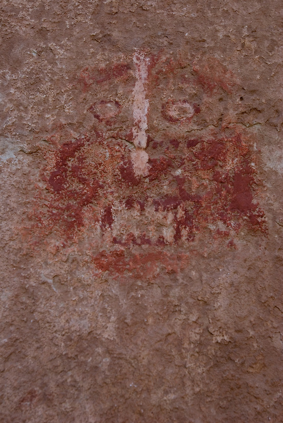 Quite a scary face. Was this painted for protection, or as representation? Animal or human?
