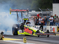 Aug 19, 2016; Brainerd, MN, USA; NHRA top fuel driver J.R. Todd during qualifying for the Lucas Oil Nationals at Brainerd International Raceway. Mandatory Credit: Mark J. Rebilas-USA TODAY Sports