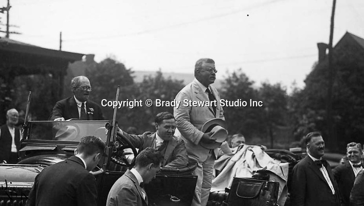 Pittsburgh PA:  Press photography assignment for a local newspaper, the Pittsburgh Leader.  Teddy Roosevelt stumping for the War Effort - Oakland section of Pittsburgh July 25th, 1917