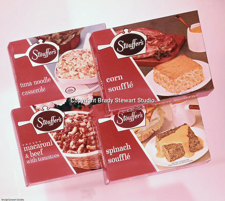 Client: Stouffer's Foods<br /> Ad Agency: Ketchum Macleod &amp; Grove<br /> Contact: Al Vazquez<br /> Product: Stouffer's Frozen Foods<br /> Location: Brady Stewart Studio, 211 Empire Building on Liberty Avenue in Pittsburgh<br /> <br /> The family's frozen food business began in the 1940s, when customers started asking for frozen versions of the meals served in the restaurants. The Stouffers sold their company to Litton Industries in 1967, who in turn sold it to Nestl&eacute; in 1973. Nestle Foods has created a campus-like area at the headquarters in Solon, Ohio.