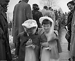 Bethel Park PA:  View of young catholic girls walking out of  church after receiving their first holy communion at Saint Valentine's Church in Bethel Park PA - 1954.  Cathy Stewart was part of the class that received their first holy communion in 1954.  St Valentine's school opened in 1953 and is still in operation today.  Brady and Cathy Stewart attended the school from 1st thru 8th grades.  Michael Stewart attended from 1st thru 3rd grades.  He left and went to Hillcrest Elementary school after a disagreement with one of the nuns over a tuna fish sandwich!