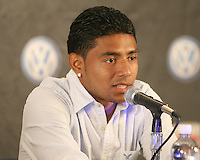 D.C. United player and El Salvador native Christian Castillo talks at a press conference to announce a charity match between D.C. United and the national team of El Salvador on June 19, 2010. RFK Stadium, Washington DC, May 4 2010.