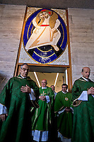 "ROME, ITALY - NOVEMBER 12:  Jubilee, closed Holy Door of Charity at Caritas hostel ""Don Luigi Di Liegro"". Cardinal Pope's vicar for the Diocese of Rome, Agostino Vallini (C) , has chaired this morning's Mass for the closing of the Holy Door of Charity on November 12, 2016 in Rome, Italy. Open December 18, 2015 by Pope Francis - the first in the history of Jubilees that does not introduce in basilicas, cathedrals and churches,  was crossed by over 12 thousand pilgrims."