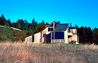 Charles Moore: Sea Ranch. House on Vantage Road. (Very likely not by Moore, but conforming to Sea Ranch style.)  Photo '83.