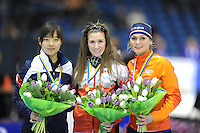 SCHAATSEN: HEERENVEEN: 14-12-2014, IJsstadion Thialf, ISU World Cup Speedskating, Podium Mass Start Ladies, Bo-Reum  Kim (KOR), Ivanie Blondin (CAN), Irene Schouten (NED), ©foto Martin de Jong