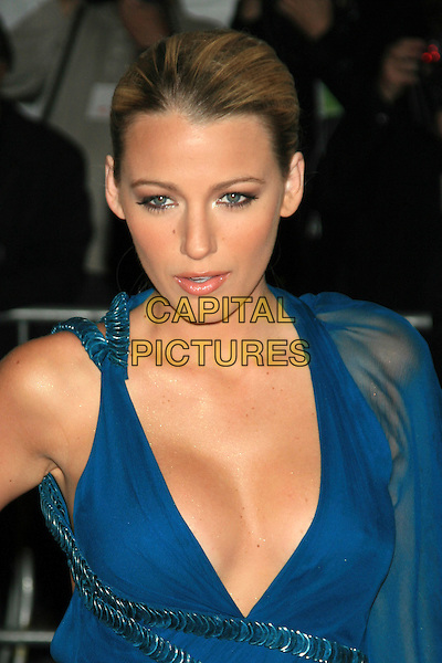 "BLAKE LIVELY.Met Costume Institute Gala Benefit - ""The Model as Muse: Embodying Fashion"".at the Metropolitan Museum of Art, New York, NY, USA..May 4th, 2009 .half length blue dress sheer sleeve low cut plunging neckline cleavage.CAP/LNC.©TOM/LNC/Capital Pictures."