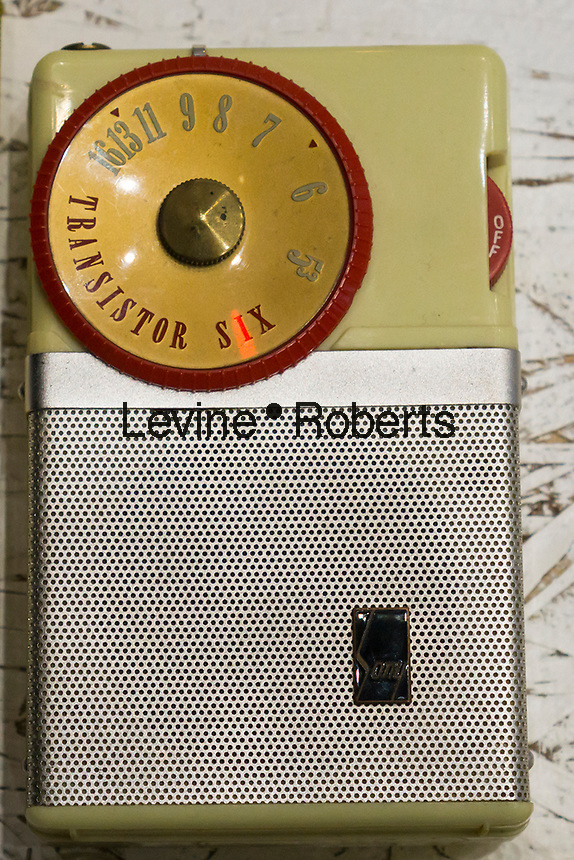 Vintage Sony brand transistor radio on display in New York on Saturday, March 18, 2017.  (© Richard B. Levine)