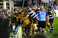 Tempers flare between the two teams. Aviva Premiership match, between Bath Rugby and Bristol Rugby on November 18, 2016 at the Recreation Ground in Bath, England. Photo by: Patrick Khachfe / Onside Images