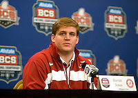 Alabama Offensive lineman Barrett Jones talks with the reporters during the Alabama Offensive Press Conference at Marriott Hotel at the Convention Center on January 5th, 2011.