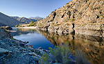 Idaho, North Central, Riggins, The Salmon River as it enters the Salmon River Canyon north of Riggins in summer.