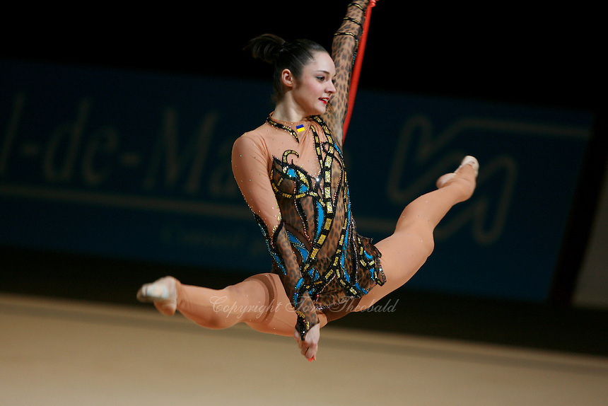 Anna Bessonova of Ukraine split leaps with rope at 2007 Thiais Grand Prix near Paris, France on March 25, 2007.