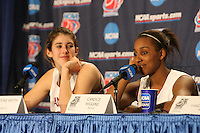 18 March 2006: Candice Wiggins and Brooke Smith at a post-game press conference after Stanford's 72-45 win over Southeast Missouri State in the first round of the NCAA Women's Basketball championships at the Pepsi Center in Denver, CO.