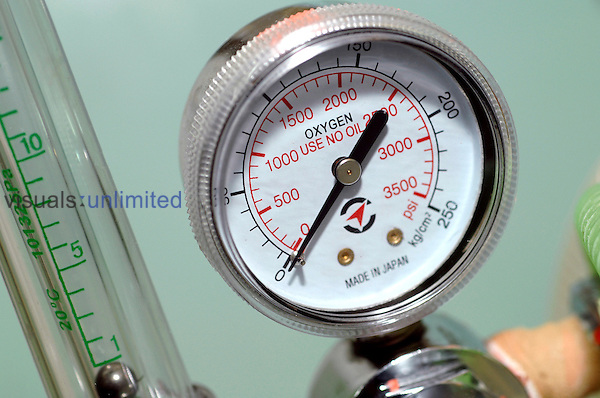 Close up of a pressure meter for oxygen tanks. Royalty Free