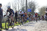 Riders including Edvald Boasson Hagen (NOR) Dimension Data summit the Taaienberg 18% cobbled climb during the 60th edition of the Record Bank E3 Harelbeke 2017, Flanders, Belgium. 24th March 2017.<br /> Picture: Eoin Clarke | Cyclefile<br /> <br /> <br /> All photos usage must carry mandatory copyright credit (&copy; Cyclefile | Eoin Clarke)
