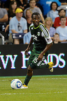 Jorge Perlaza (15) forward Portland Timbers in action... Sporting Kansas City defeated Portland Timbers 3-1 at LIVESTRONG Sporting Park, Kansas City, Kansas.