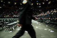 29 December 2005 - New York City, NY - The newly sworn in New York Police Department's Class of 2005 leave the Madison Square Garden at the end of their graduating ceremony, 29 December 2005, at the Madison Square Garden in New York City. 1,735 recruits were sworn in during the ceremony.