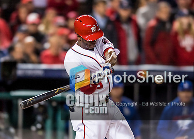 14 October 2016: Washington Nationals outfielder and Baseball America top prospect Michael Taylor at bat during the NLDS Game 5 against the Los Angeles Dodgers at Nationals Park in Washington, DC. The Dodgers edged out the Nationals 4-3, to take Game 5, and the Series, 3 games to 2, moving on to the National League Championship against the Chicago Cubs. Mandatory Credit: Ed Wolfstein Photo *** RAW (NEF) Image File Available ***