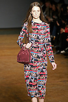 Suzie Bird walks runway in an outfit from the Marc by Marc Jacobs Fall/Winter 2011 collection, during New York Fashion Week, Fall 2011.