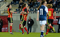 20170411 - LEUVEN ,  BELGIUM : Belgian Tessa Wullaert pictured celebrating her goal and the 3-0 lead for Belgium with teammate Yana Daniels (middle) during the friendly female soccer game between the Belgian Red Flames and Scotland , a friendly game in the preparation for the European Championship in The Netherlands 2017  , Tuesday 11 th April 2017 at Stadion Den Dreef  in Leuven , Belgium. PHOTO SPORTPIX.BE   DAVID CATRY
